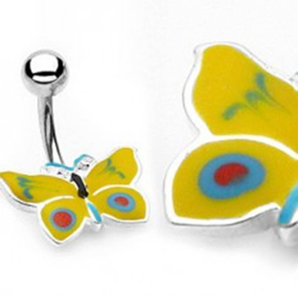 Šperky eshop Piercing do pupku žlto-modrý motýlik