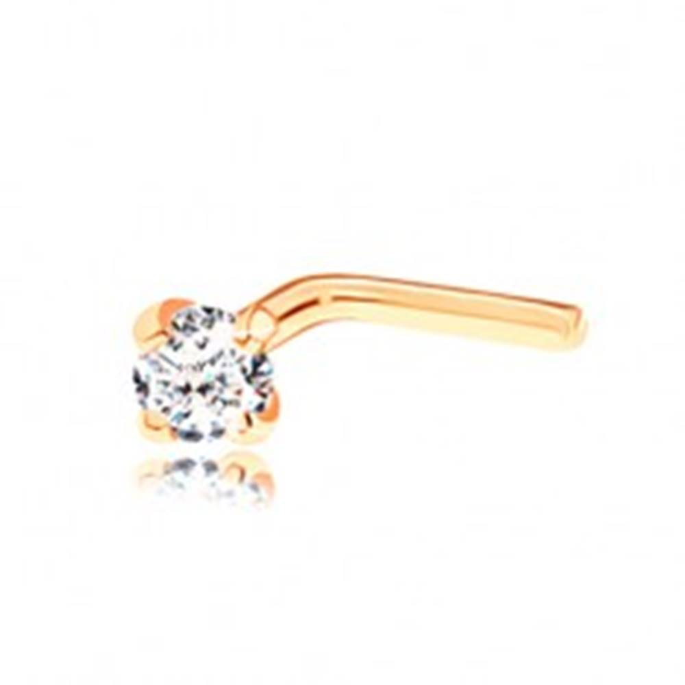 Šperky eshop Piercing v žltom 14K zlate, zahnutý tvar  - okrúhly diamant čírej farby, 2 mm
