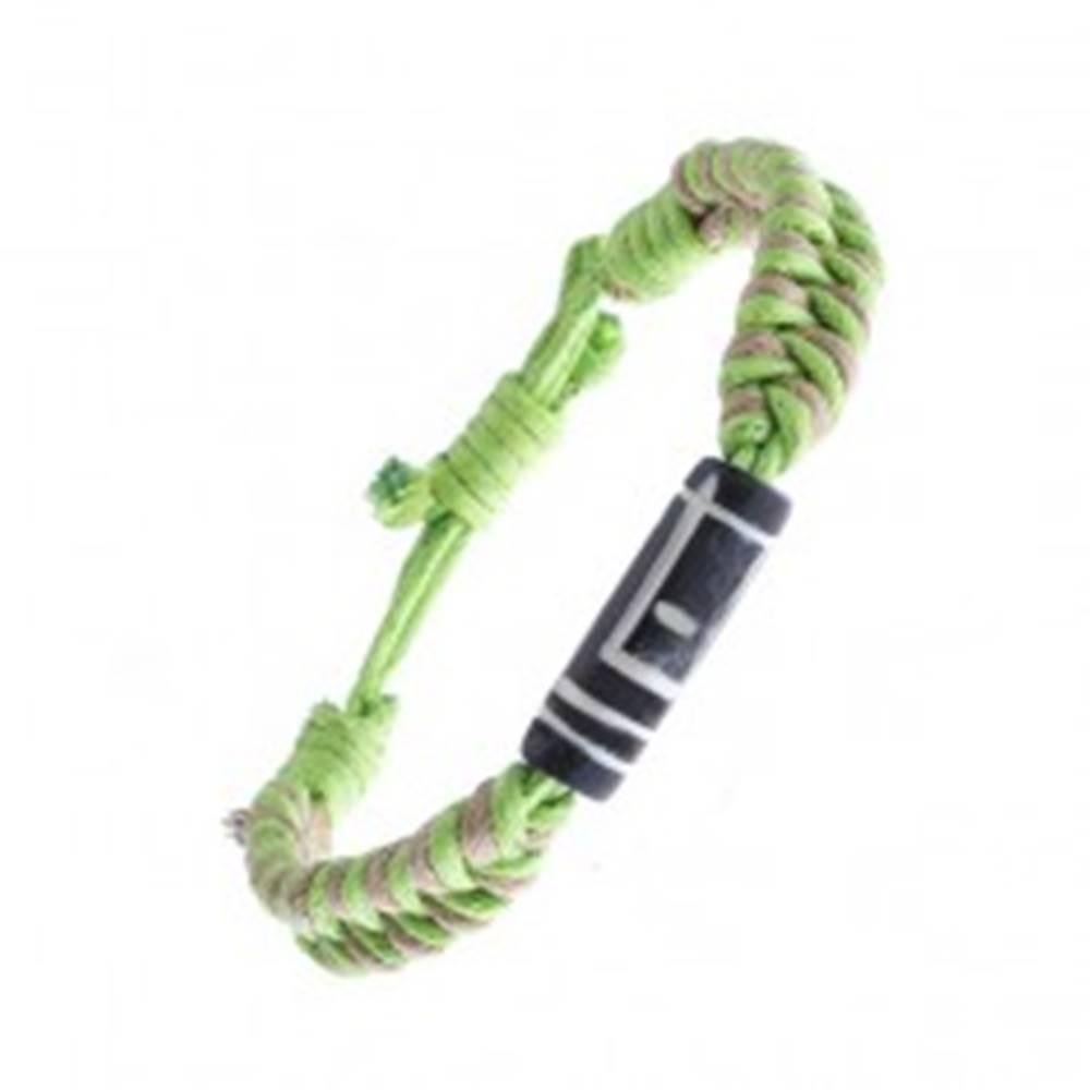 Šperky eshop Pletený náramok zo šnúrok - béžovo-zelený, vyrezávaný valček