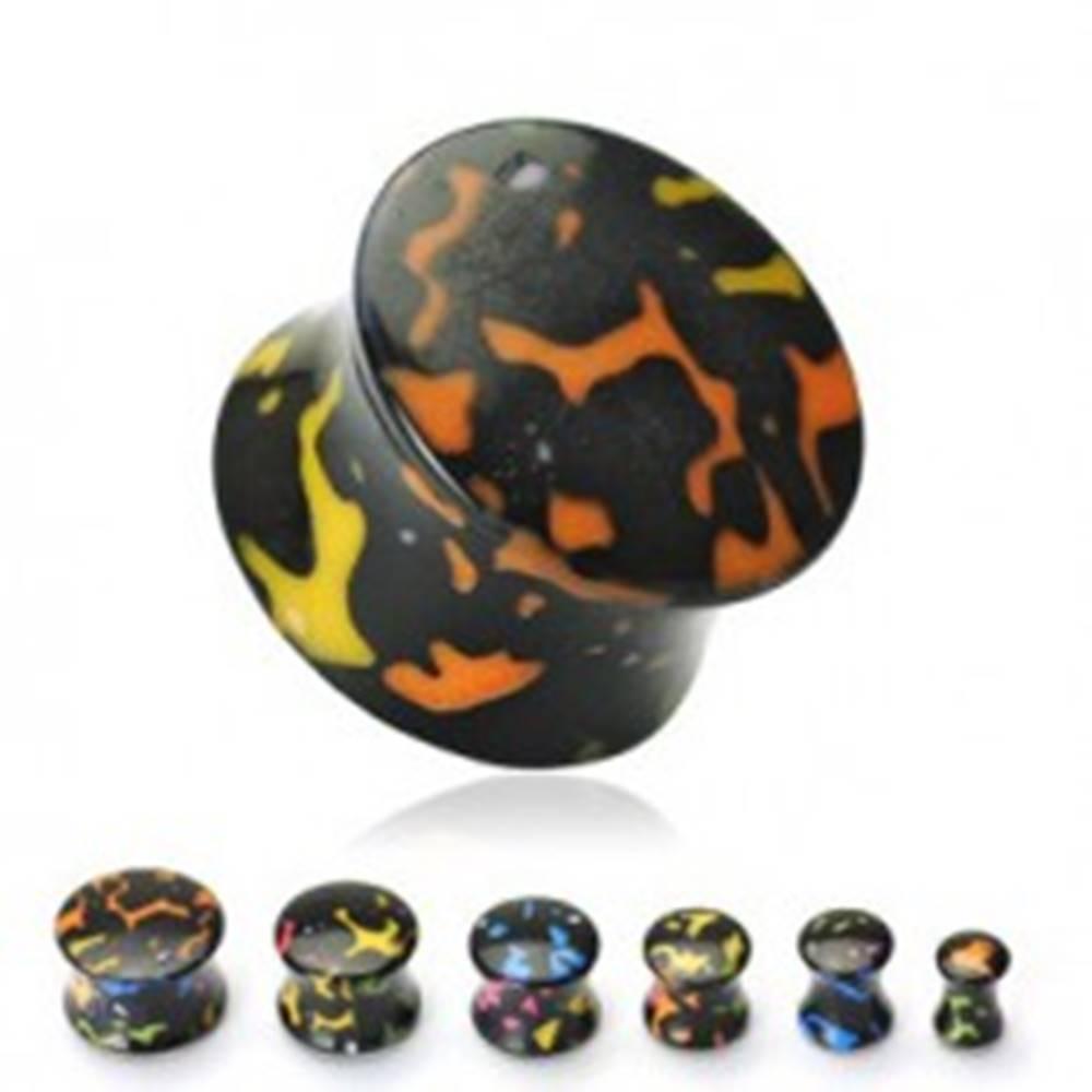 Šperky eshop Plug do ucha akrylový čierny, farebné škvrny - Hrúbka: 10 mm