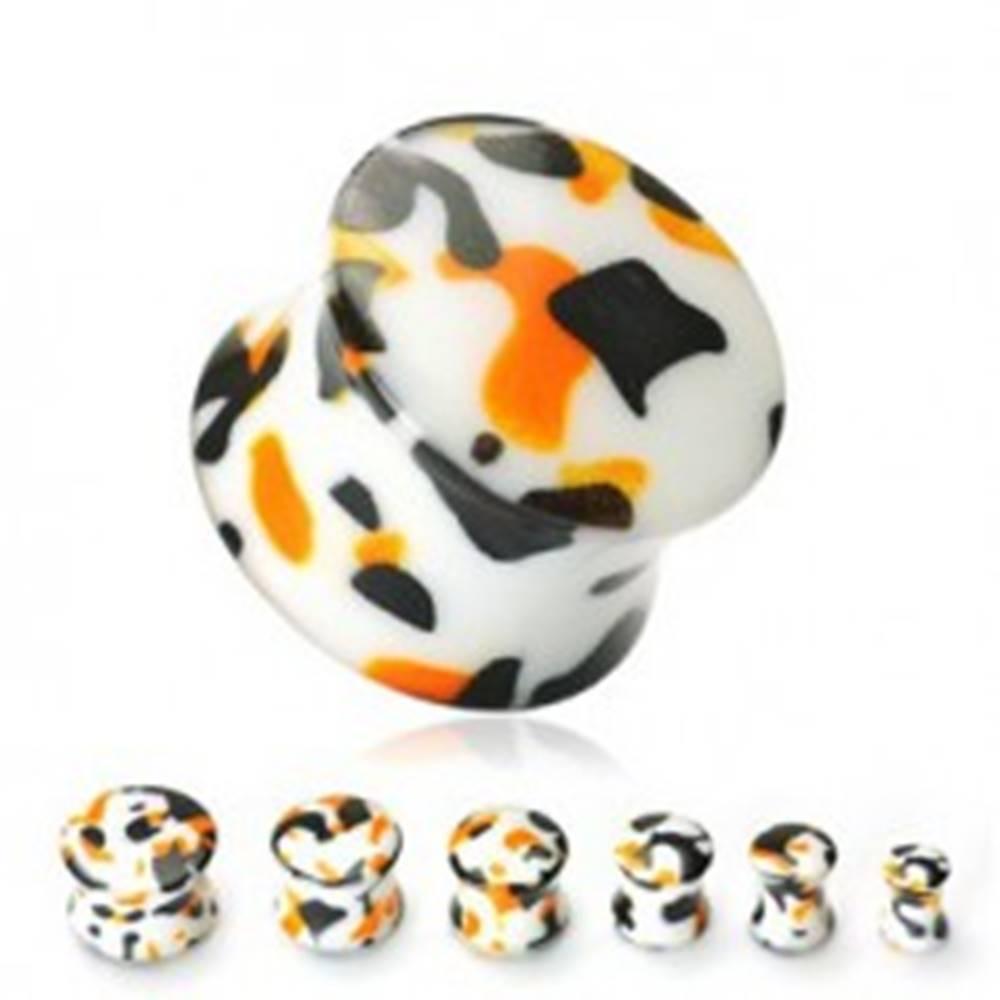 Šperky eshop Plug do ucha biely špliechaný čiernou, oranžovou - Hrúbka: 10 mm