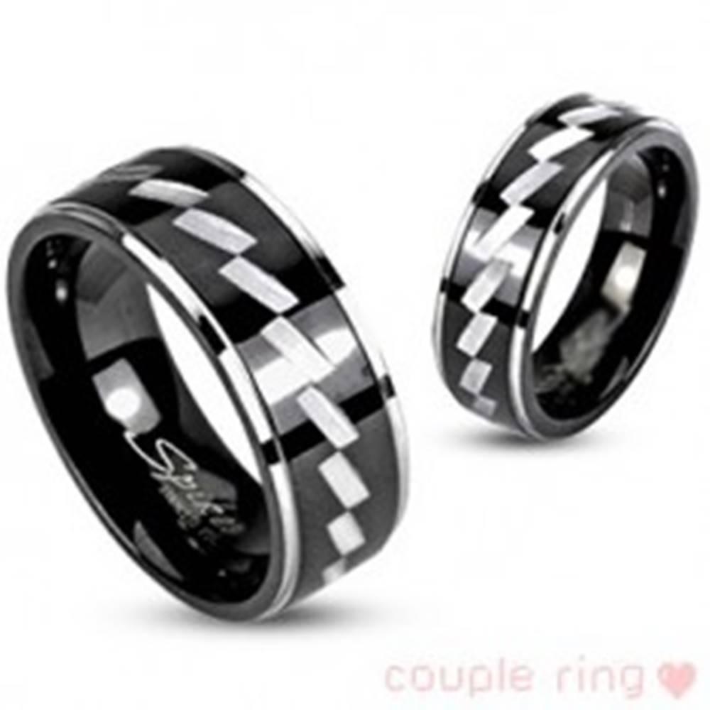 Šperky eshop Prsteň pre páry z chirurgickej ocele - gravírovaný vzor - Veľkosť: 49 mm