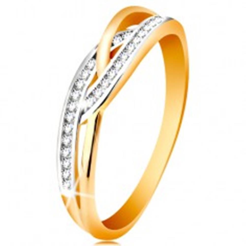 Šperky eshop Prsteň v 14K zlate - prepletené rozdelené ramená, okrúhle číre zirkóny - Veľkosť: 49 mm