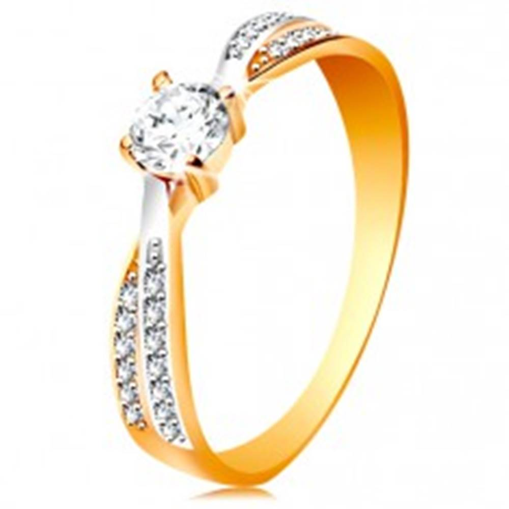 Šperky eshop Prsteň v 14K zlate - prepojené dvojfarebné línie ramien, okrúhly zirkón čírej farby - Veľkosť: 49 mm
