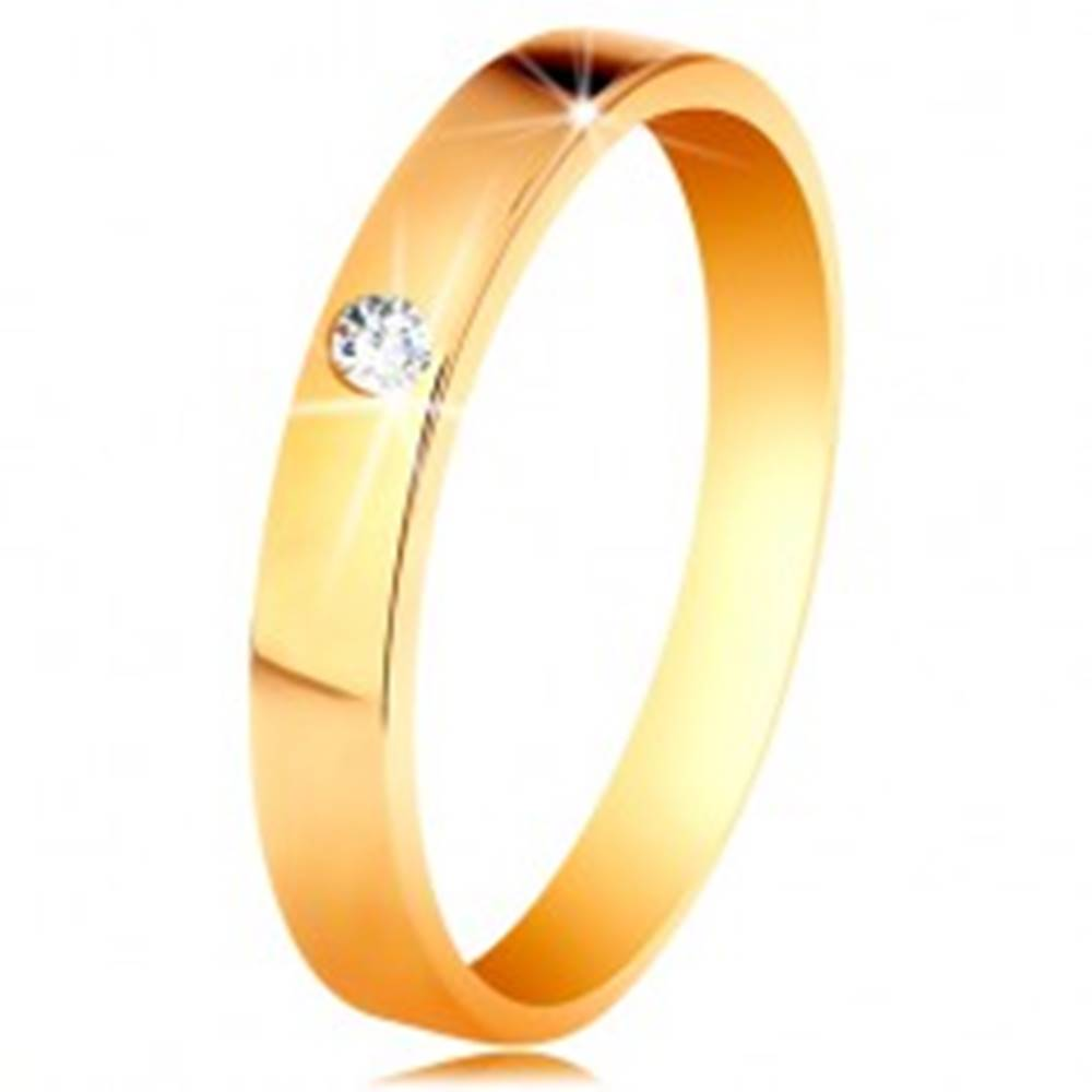 Šperky eshop Prsteň v žltom 14K zlate - lesklý hladký povrch, okrúhly číry zirkón - Veľkosť: 48 mm