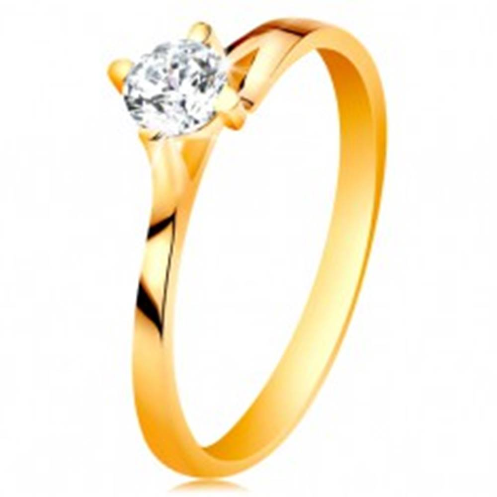 Šperky eshop Prsteň v žltom 14K zlate - trblietavý číry zirkón v lesklom vyvýšenom kotlíku - Veľkosť: 49 mm