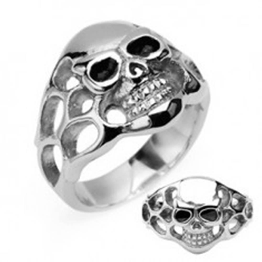 Šperky eshop Prsteň z chirurgickej ocele - lebka, čierne oči - Veľkosť: 58 mm