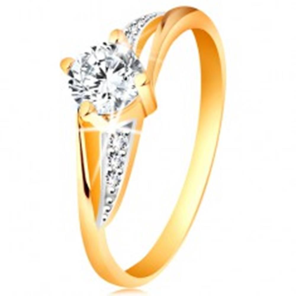 Šperky eshop Prsteň zo 14K zlata - rozdelené dvojfarebné ramená, číre zirkóny - Veľkosť: 49 mm
