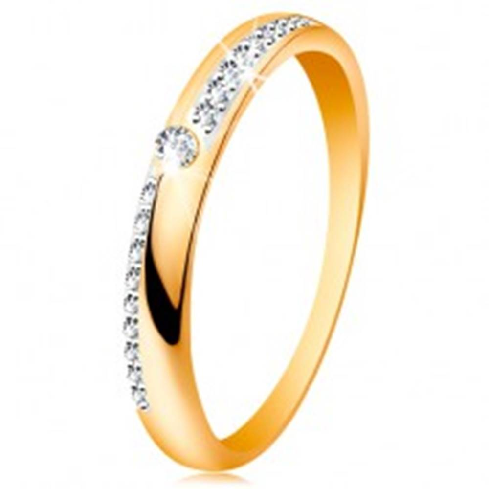 Šperky eshop Prsteň zo zlata 585 - úzke línie z čírych ligotavých zirkónikov, lesklé ramená, zirkón - Veľkosť: 50 mm