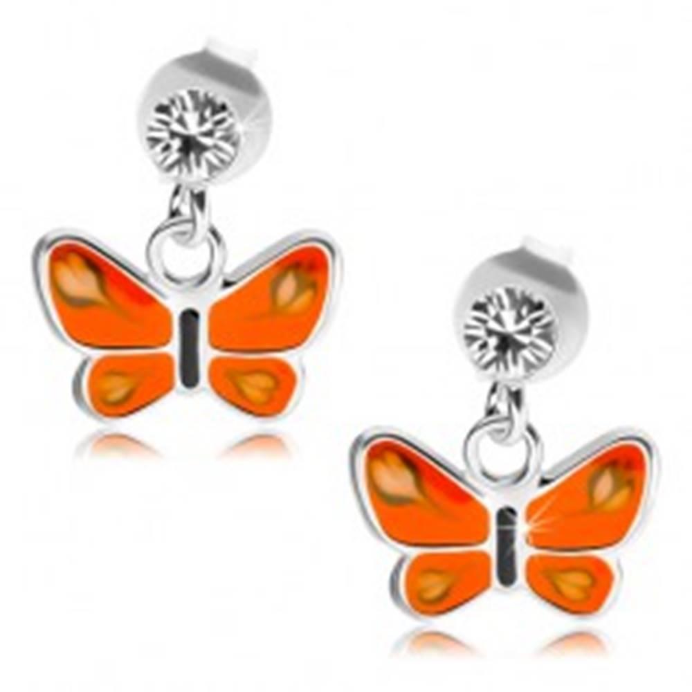 Šperky eshop Puzetové náušnice, striebro 925, číry krištáľ, motýľ s oranžovými krídlami