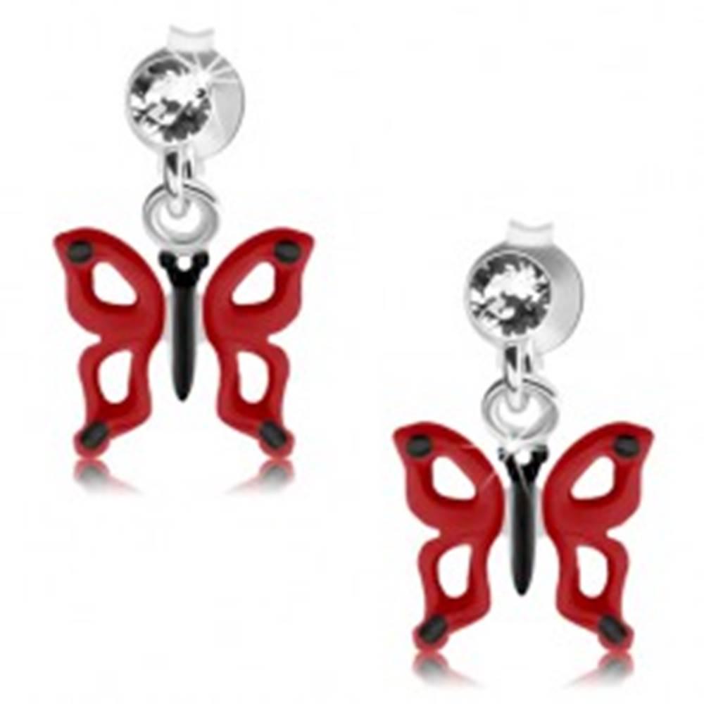 Šperky eshop Puzetové náušnice, striebro 925, číry krištáľ Swarovski, červeno-čierny motýľ