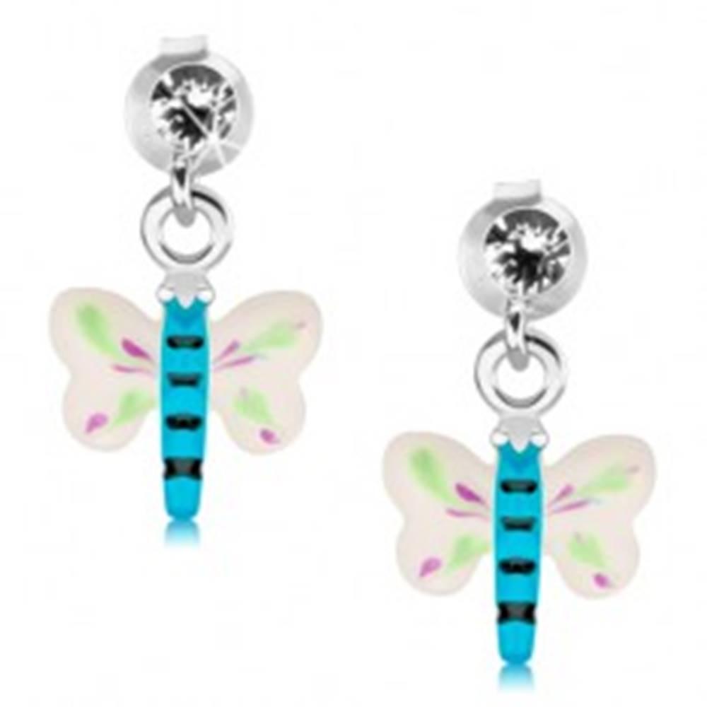 Šperky eshop Puzetové náušnice, striebro 925, farebný motýlik, číry krištáľ Swarovski