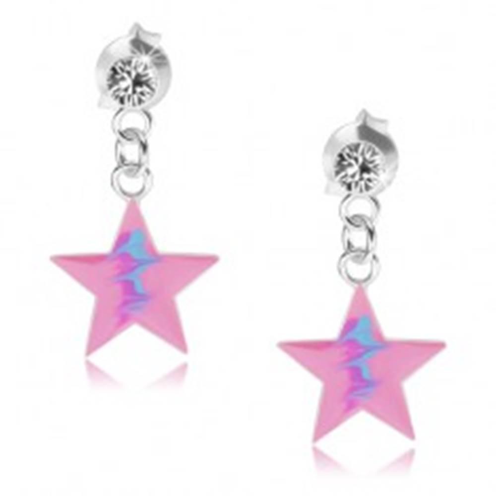Šperky eshop Puzetové náušnice, striebro 925, ružová hviezda, modrý cik-cak vzor, krištáľ