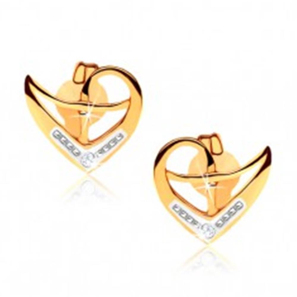 Šperky eshop Puzetové náušnice z 9K zlata, obrys nepravidelného srdca, dvojfarebné