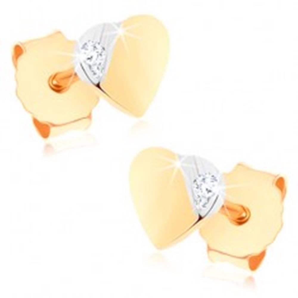 Šperky eshop Puzetové náušnice zo zlata 375 - malé dvojfarebné srdiečko, drobný zirkónik