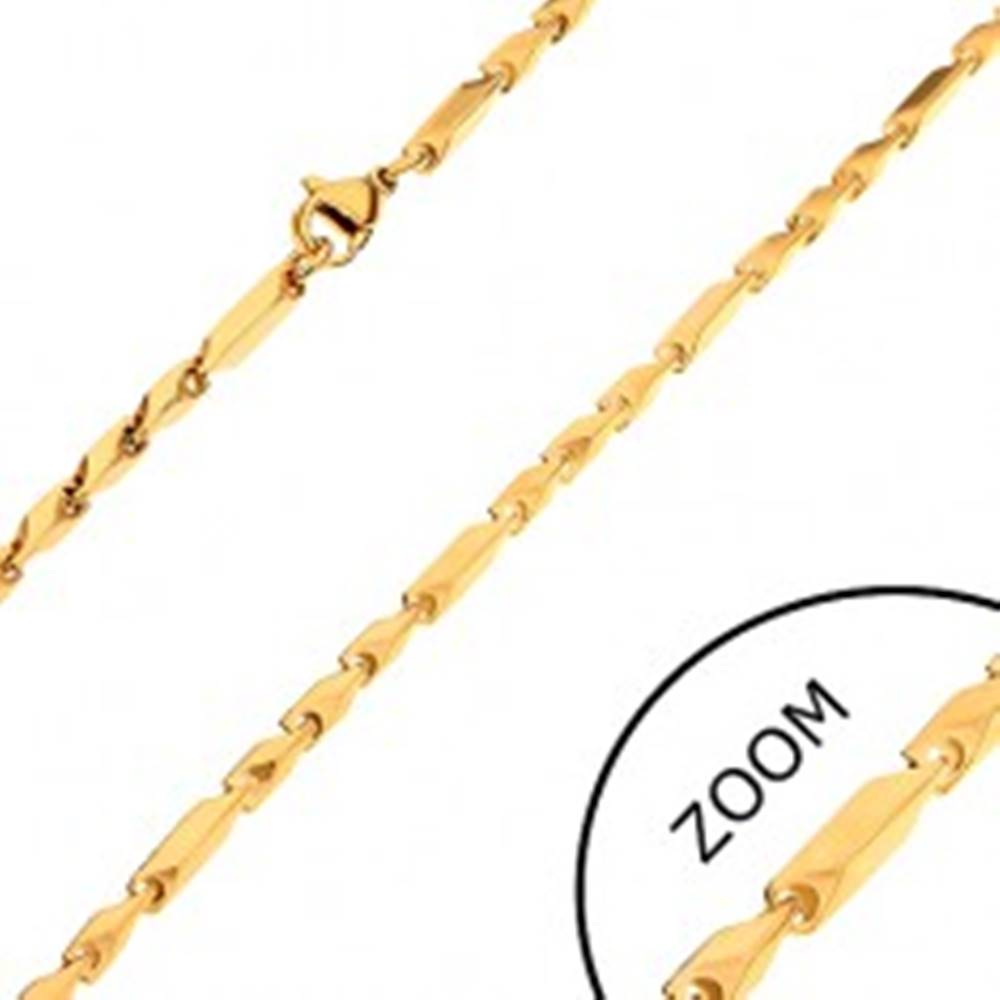 Šperky eshop Retiazka z chirurgickej ocele, zlatý odtieň, dlhšie a kratšie hranaté články, 3 mm