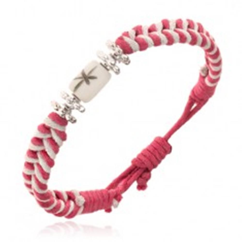 Šperky eshop Ružovo-biely šnúrkový náramok s kvietkami a valčekom