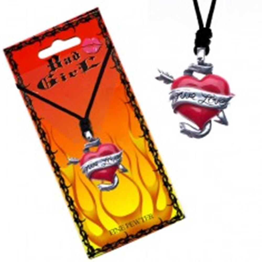 Šperky eshop Šnúrkový náhrdelník - farebné srdce a šíp, stuha TRUE LOVE