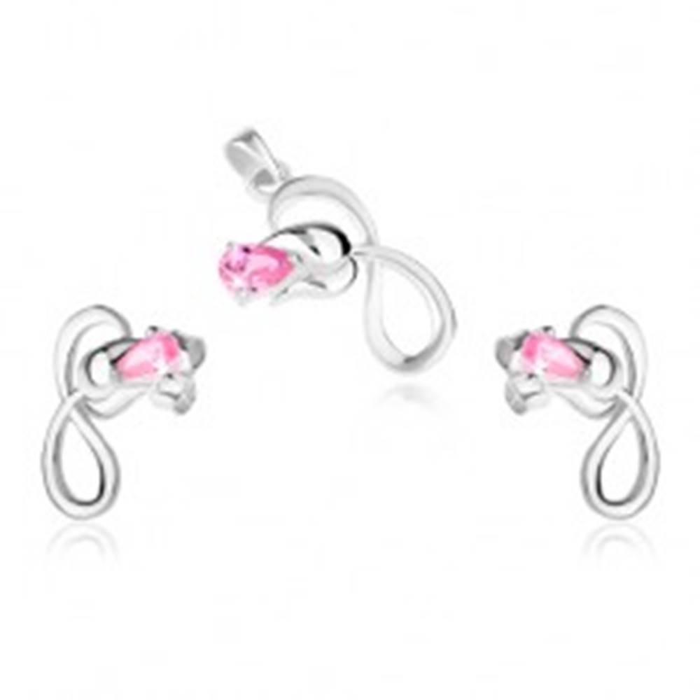 Šperky eshop Strieborná sada 925, náušnice a prívesok, ruža so slučkou, ružový kamienok