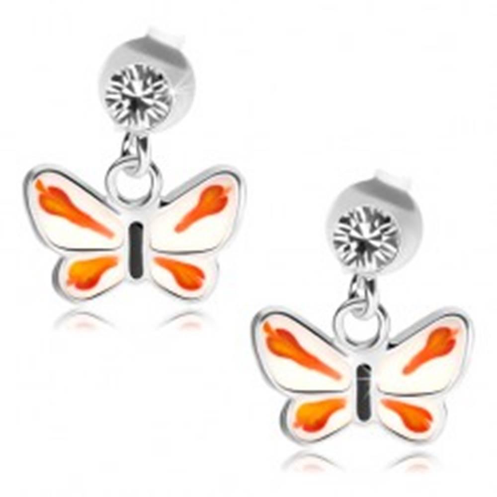 Šperky eshop Strieborné 925 náušnice, číry krištálik Swarovski, bielo-oranžový motýlik