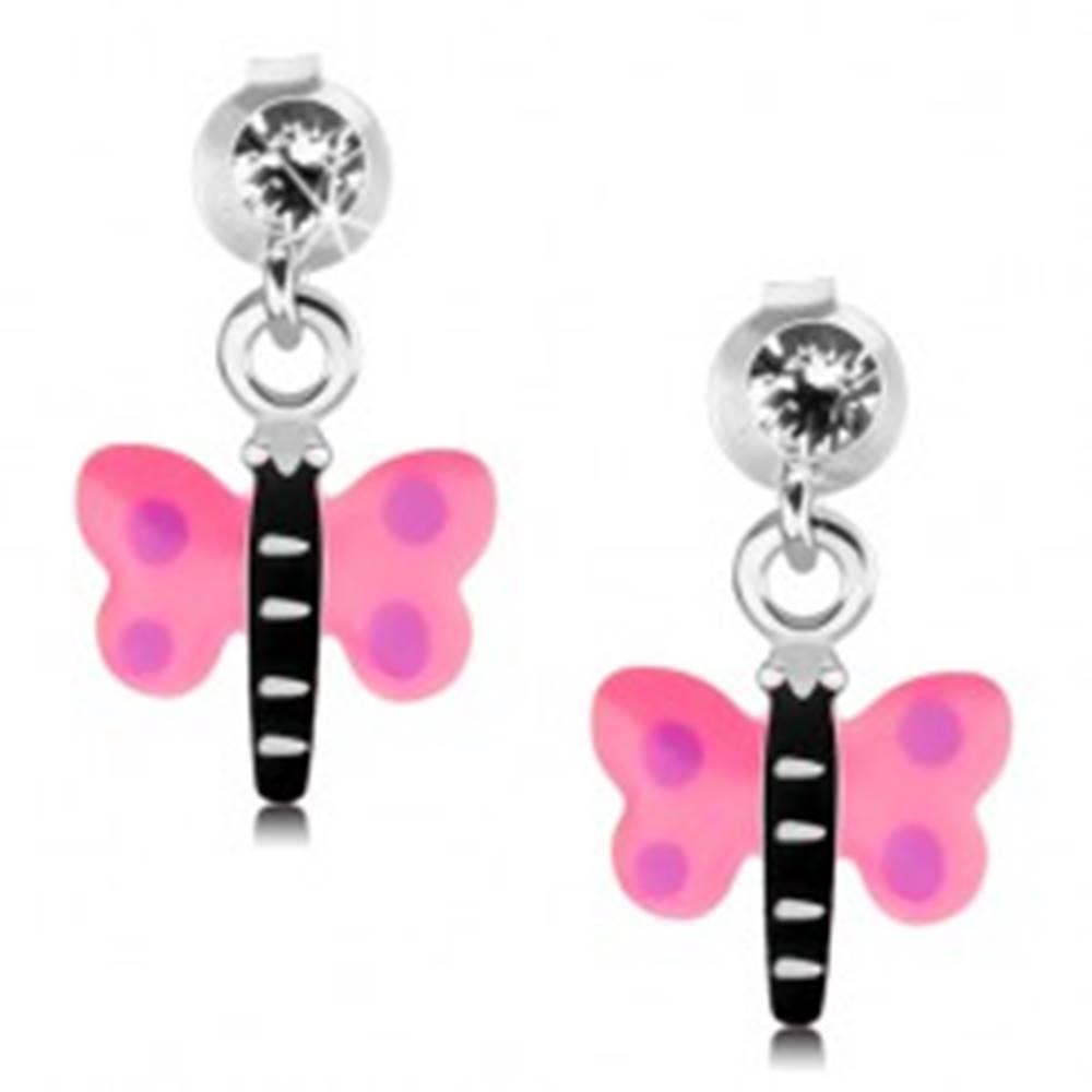 Šperky eshop Strieborné 925 náušnice, motýlik s ružovými krídlami a fialovými bodkami