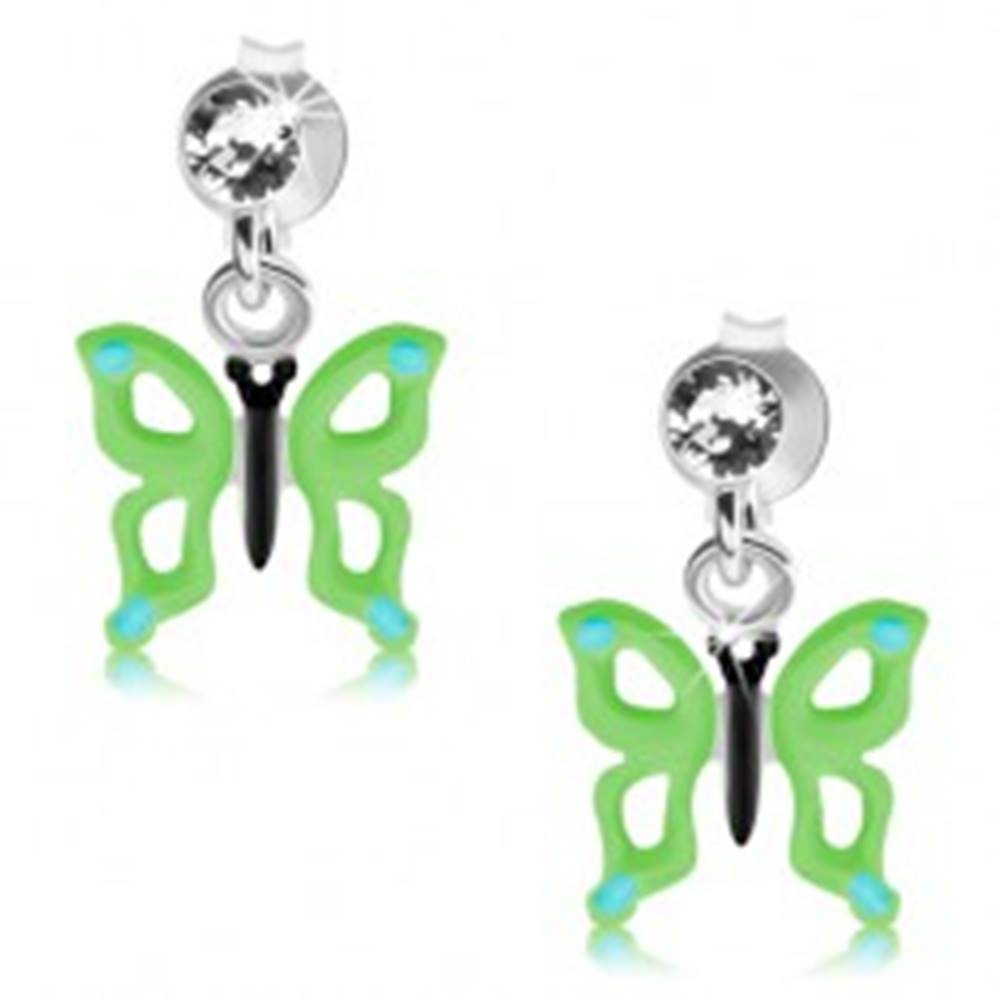 Šperky eshop Strieborné náušnice 925, číry Swarovského krištáľ, zeleno-modrý motýľ