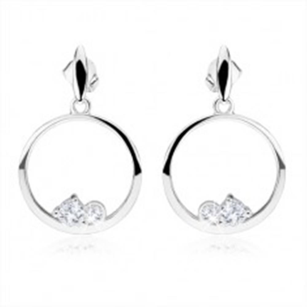 Šperky eshop Strieborné náušnice 925, kruhy, dva číre okrúhle zirkóny, ovál