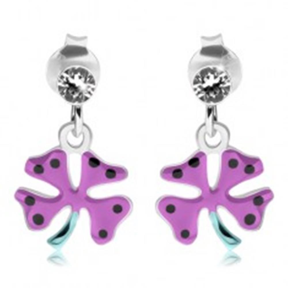 Šperky eshop Strieborné náušnice 925, okrúhly číry zirkón, fialový štvorlístok