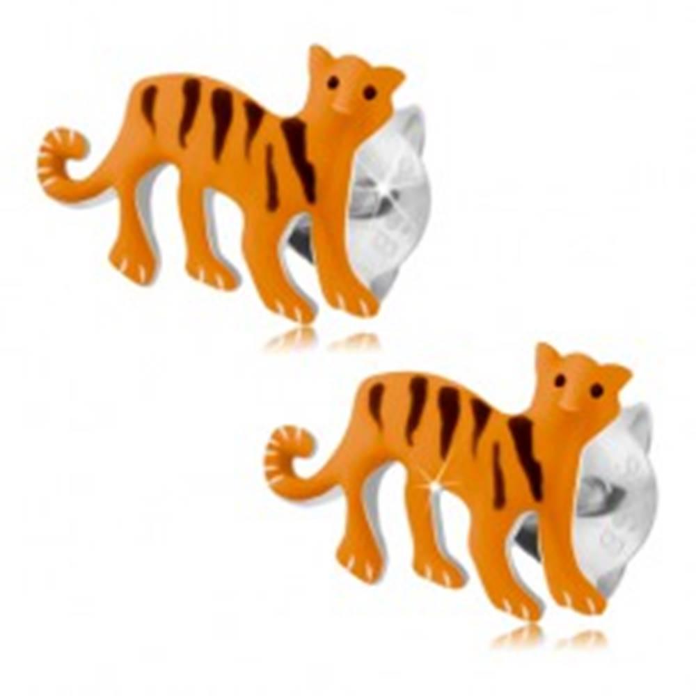 Šperky eshop Strieborné náušnice 925, oranžový tiger s čiernymi pásikmi, puzetky