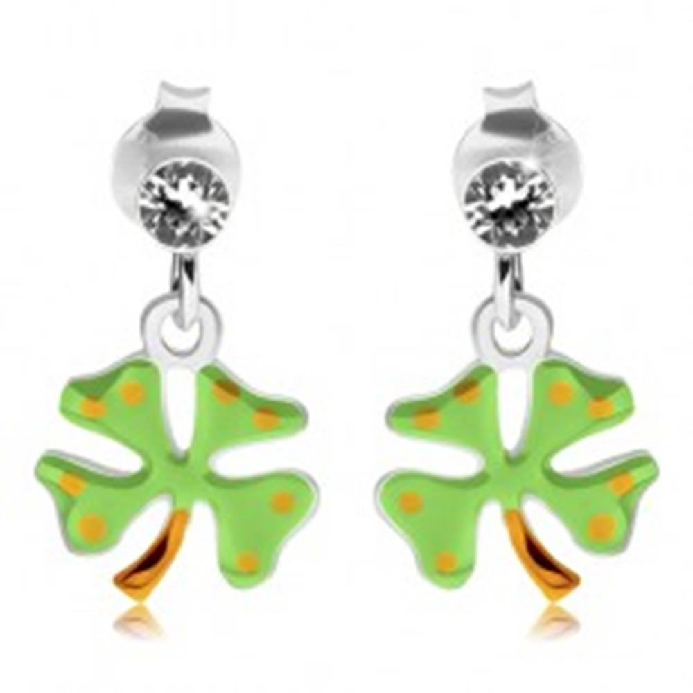 Šperky eshop Strieborné náušnice 925, štvorlístok - svetlozelená glazúra, žlté bodky, puzetky