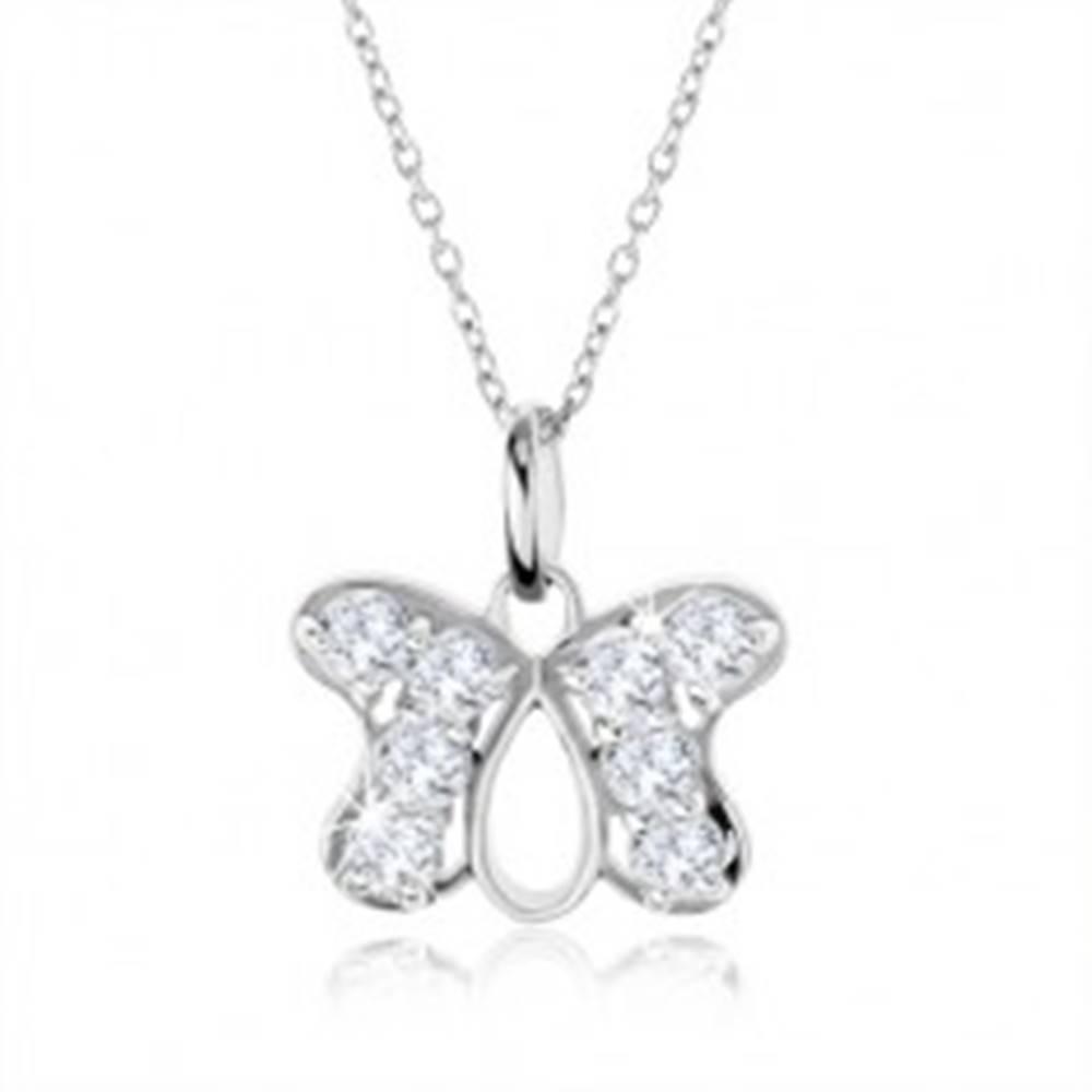 Šperky eshop Strieborný náhrdelník 925, prívesok obrys motýľa vykladaný zirkónmi