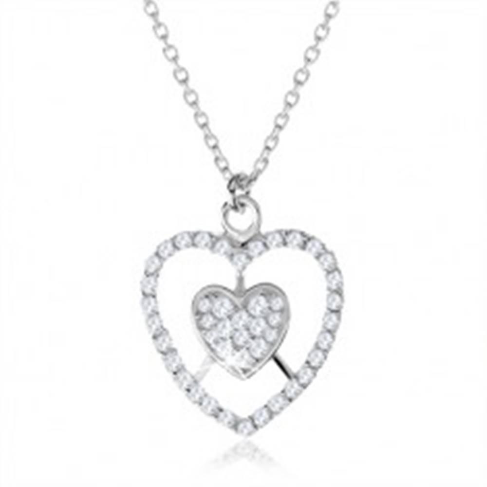Šperky eshop Strieborný náhrdelník 925, srdce a kontúra srdca s čírymi zirkónmi