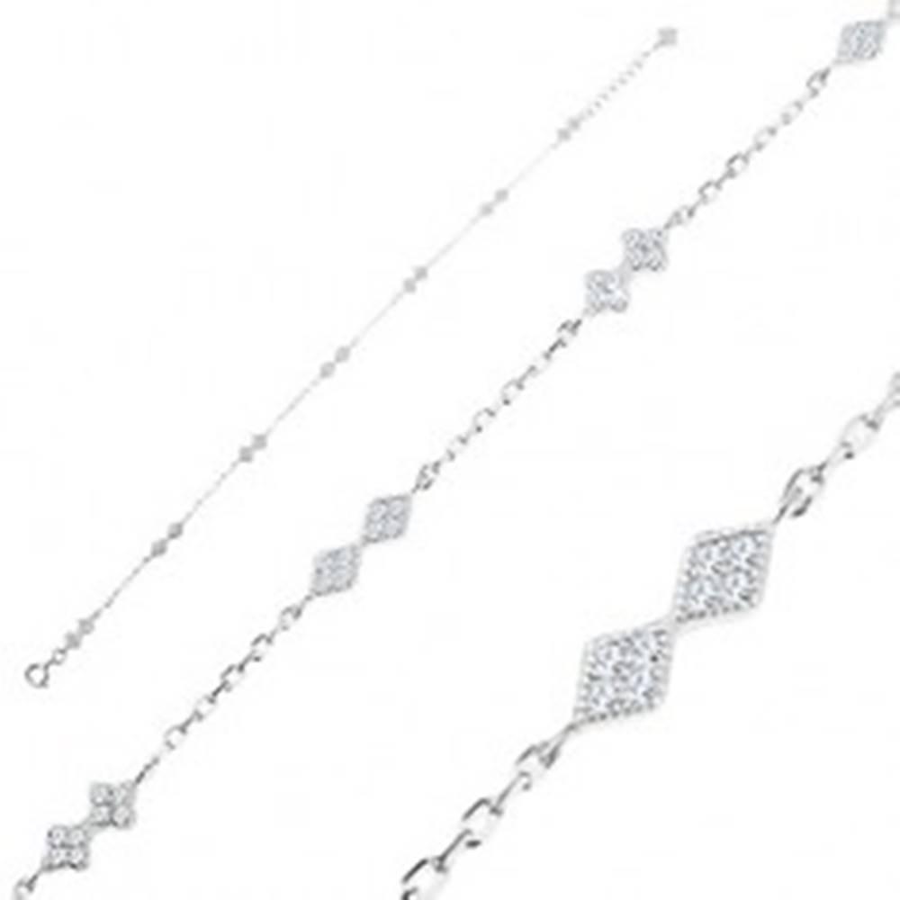Šperky eshop Strieborný náramok 925, dvojice čírych kosoštvorcov a kvietkov, oválne očká