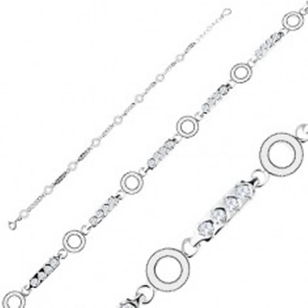 Šperky eshop Strieborný náramok 925, podlhovasté články s čírymi zirkónmi, krúžky