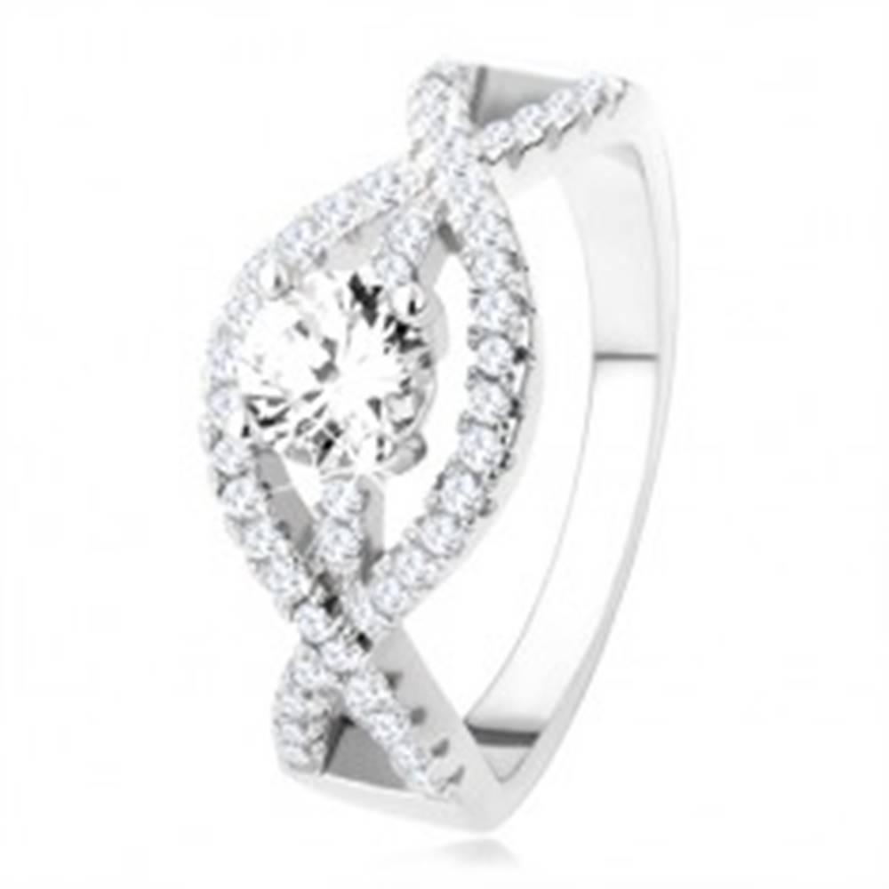 Šperky eshop Strieborný prsteň 925, zvlnené zirkónové línie, okrúhly číry kameň - Veľkosť: 49 mm