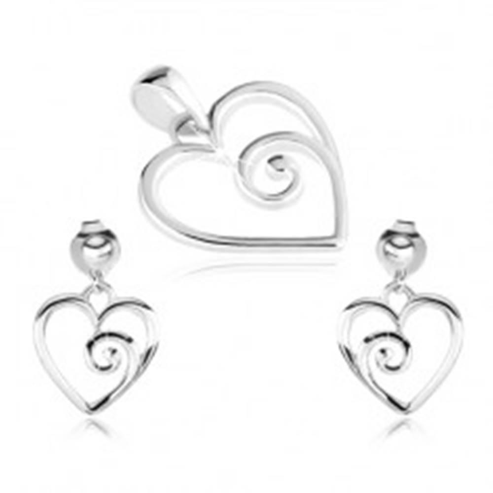 Šperky eshop Strieborný set 925, prívesok a náušnice, kontúra srdca so špirálou