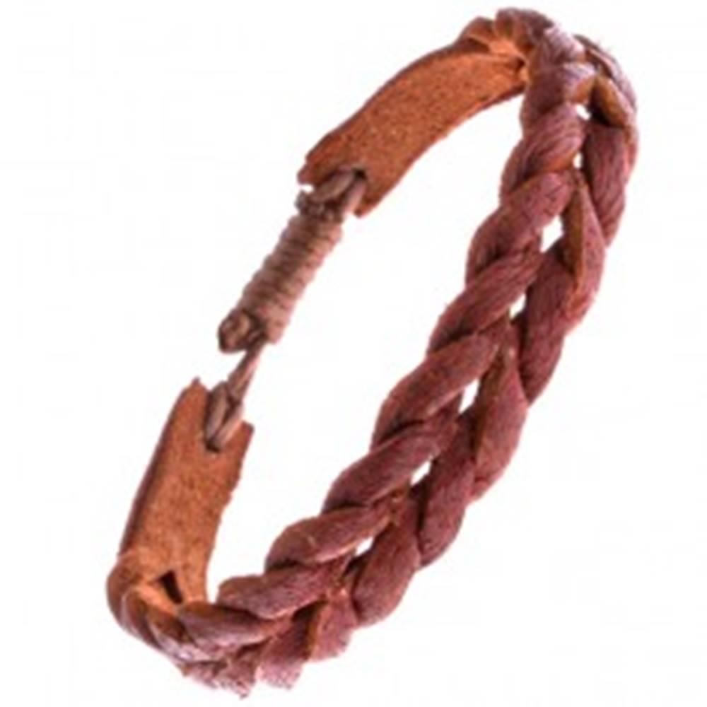 Šperky eshop Svetlohnedý náramok z prekladaných prúžkov kože
