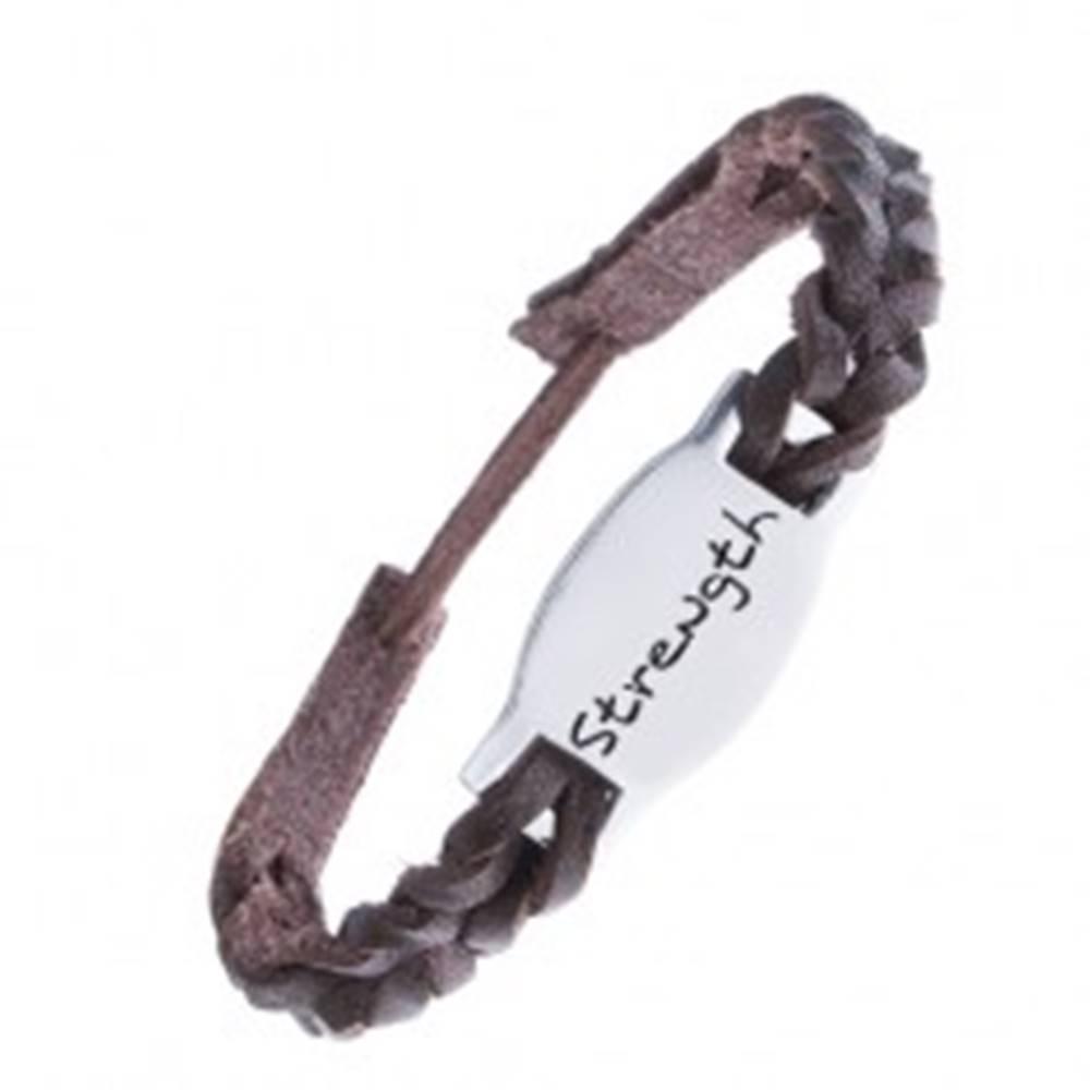 Šperky eshop Tmavohnedý kožený náramok - pletený, známka STRENGTH