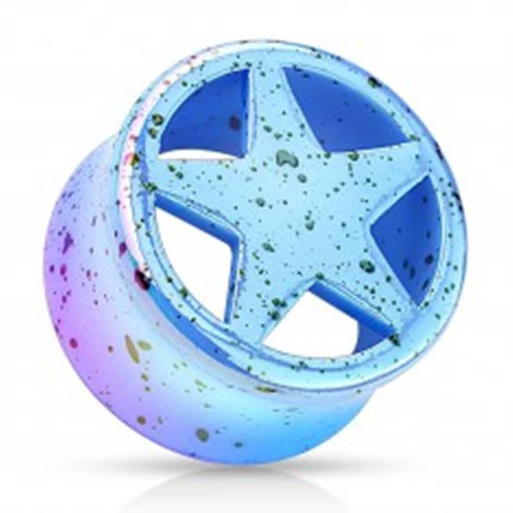 Šperky eshop Tunel plug z akrylu modrej farby, vyrezávaná hviezda, čierne škvrny - Hrúbka: 10 mm