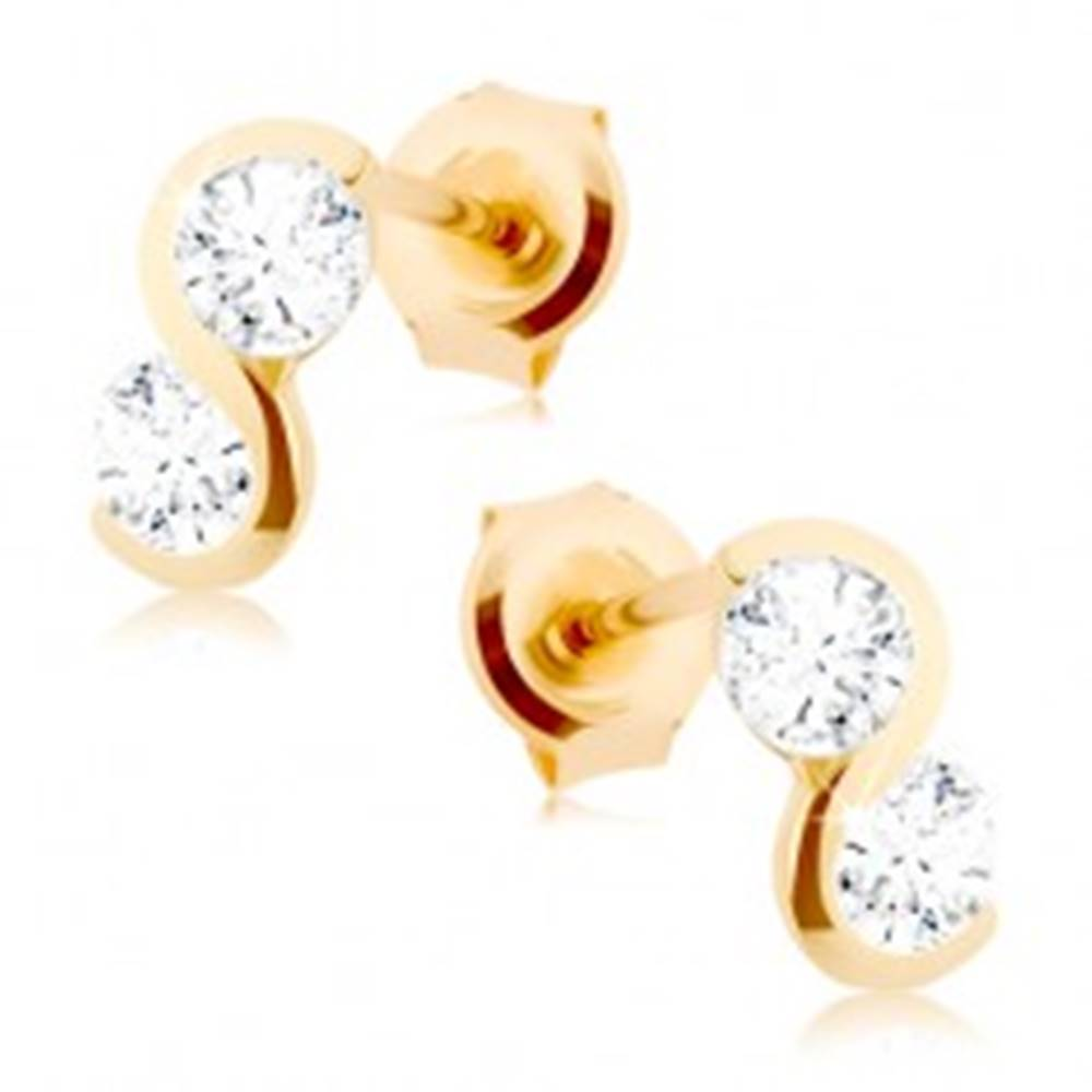 Šperky eshop Zlaté náušnice 375 - lesklá hladká vlnka, dva číre ligotavé zirkóny