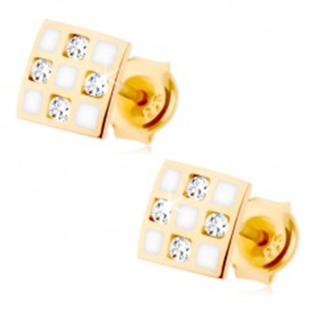 Šperky eshop Zlaté náušnice 375 - štvorček so šachovnicou, číre zirkóniky, biela glazúra