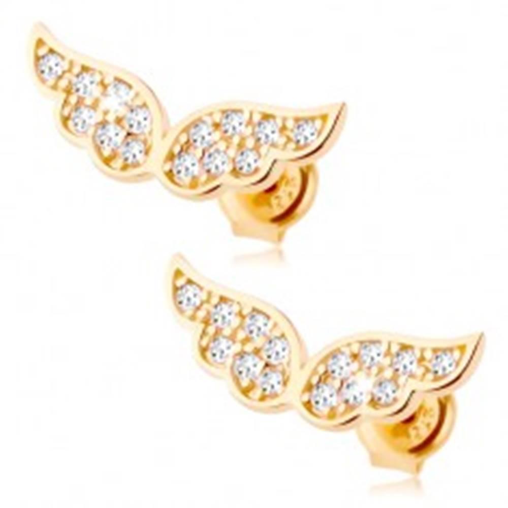 Šperky eshop Zlaté náušnice 375 - trblietavé anjelské krídla vykladané čírymi zirkónikmi