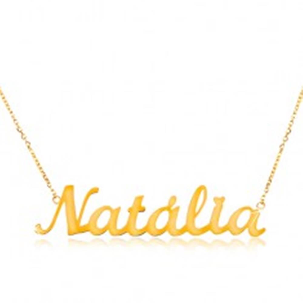 Šperky eshop Zlatý 14K náhrdelník - tenká retiazka z oválnych očiek, lesklý prívesok Natália