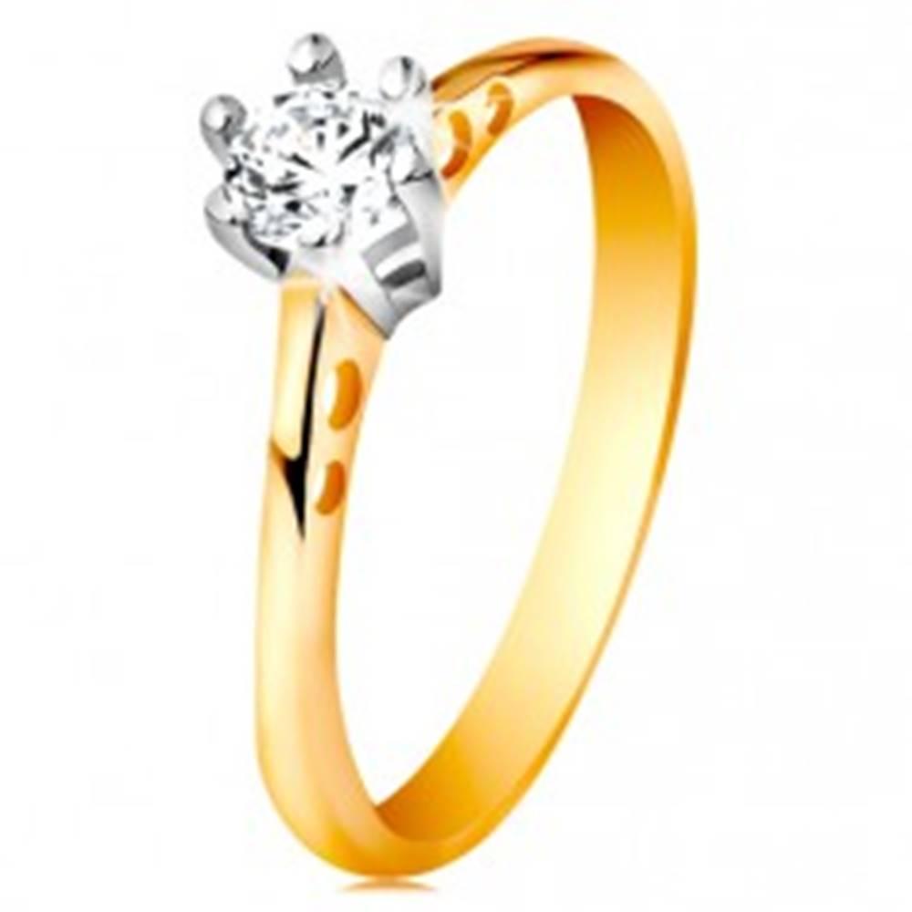 Šperky eshop Zlatý 14K prsteň - okrúhle výrezy na ramenách, číry zirkón v kotlíku z bieleho zlata - Veľkosť: 49 mm