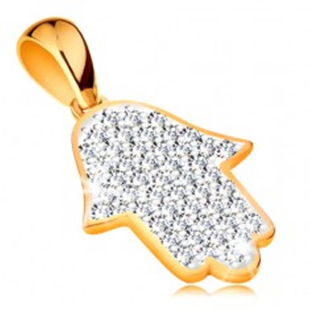 Šperky eshop Zlatý prívesok 585 - symbol Hamsa vykladaný žiarivými čírymi zirkónmi