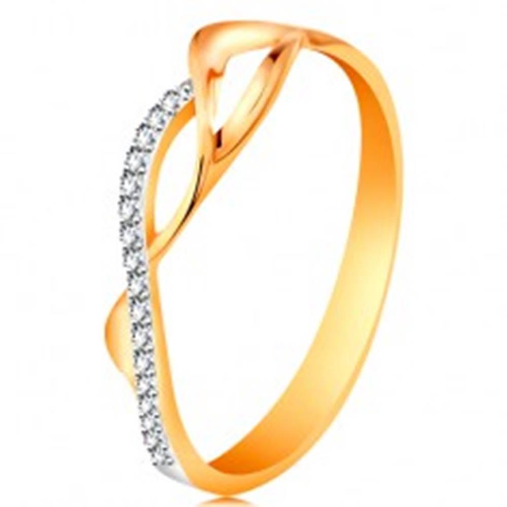 Šperky eshop Zlatý prsteň 585 - asymetricky prepletené vlnky - dve hladké a jedna zirkónová - Veľkosť: 49 mm