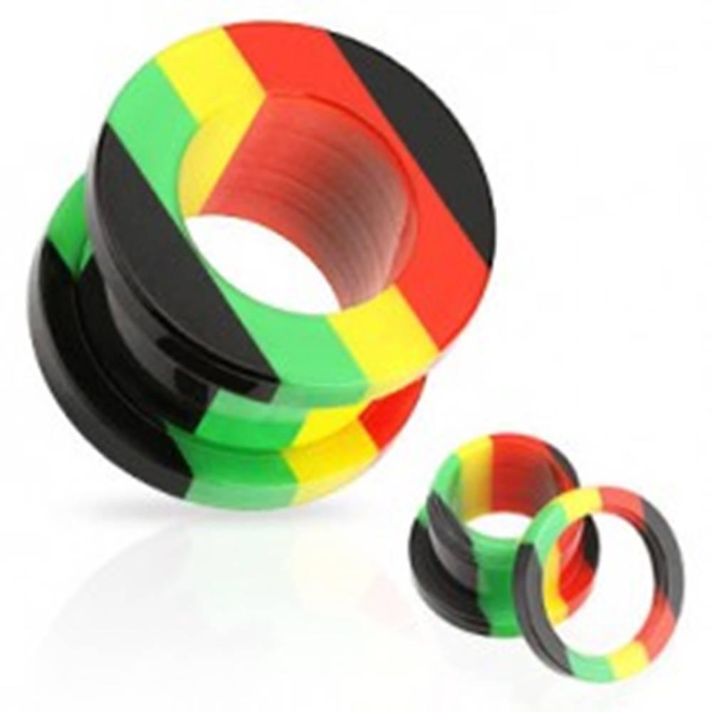 Šperky eshop Akrylový tunel do ucha, pruhy červenej, žltej, zelenej a čiernej farby - Hrúbka: 10 mm