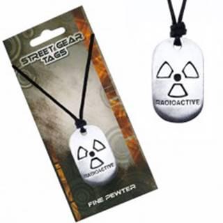 Čierny šnúrkový náhrdelník, známka so symbolom rádioaktivity