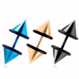 Falošný farebný plug z chirurgickej ocele, hladký špic, PVD povrch - Farba piercing: Čierna