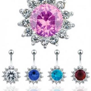 Lesklý oceľový piercing do pupku - farebný zirkónový kvet - Farba zirkónu: Aqua modrá - Q